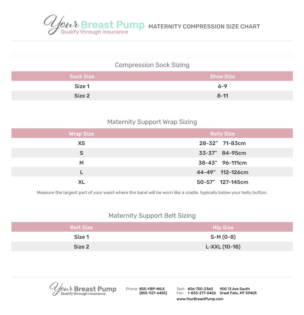 Your Breast Pump_Maternity Compression Size Chart